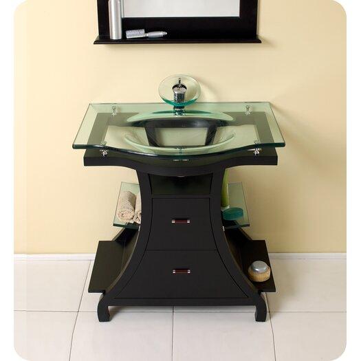 "Fresca Classico 32"" Single Cortese Modern Bathroom Vanity Set with Mirror"