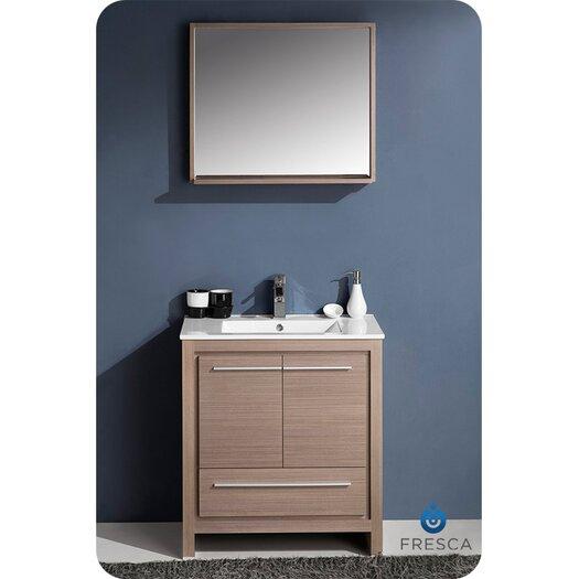 "Fresca Allier 30"" Single Modern Bathroom Vanity Set with Mirror"