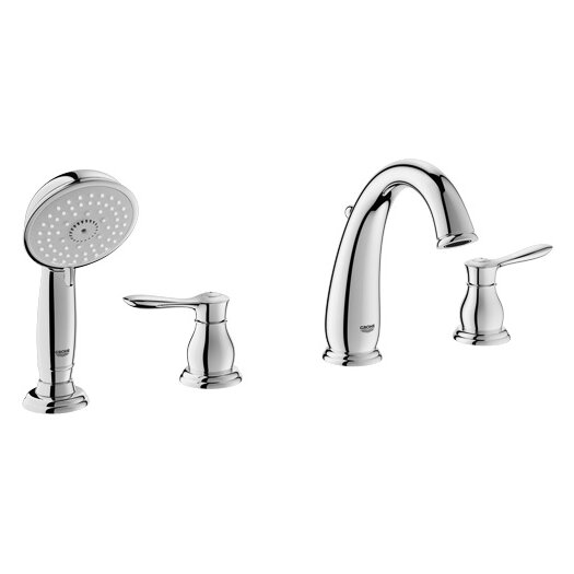 Grohe Parkfield Double Handle Widespread Roman Tub Faucet with Handshower