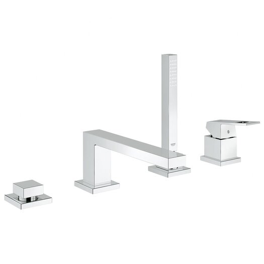 Grohe Eurocube Single Handle Deck Mount Roman Tub Faucet with Hand Shower