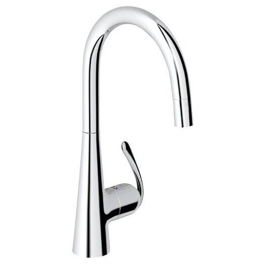 Grohe Ladylux3 Single Handle Single Hole Standard Kitchen Faucet with Dual Spray Pull Down and Lever Handle