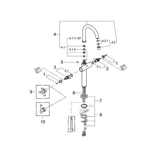 Grohe Atrio Single Hole Vessel Faucet, Less Handles