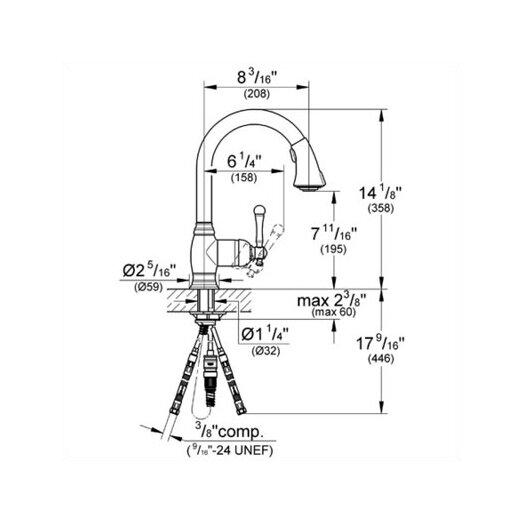 Grohe Bridgeford Single Handle Single Hole Standard Kitchen Faucet