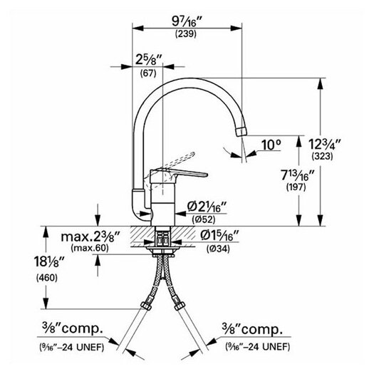 Grohe Eurostyle Single Handle Single Hole Standard Kitchen Faucet