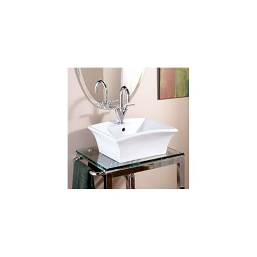 DecoLav Classically Redefined Rectangular Ceramic Vessel Bathroom Sink with Overflow