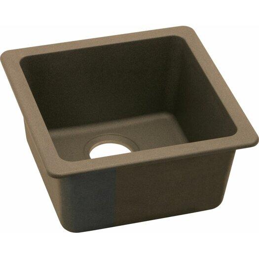 "Elkay Gourmet 16.63"" x 16.63"" E-Granite Universal Mount Single Bowl Kitchen Sink"