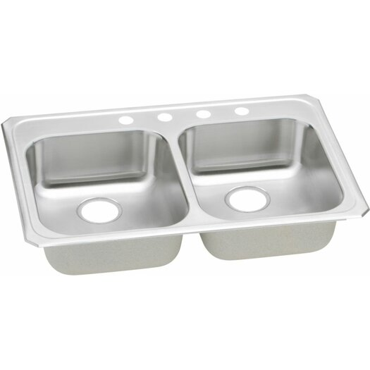 """Elkay Celebrity 33"""" x 21.25"""" Self Rimming 4-Hole Double Bowl Kitchen Sink"""