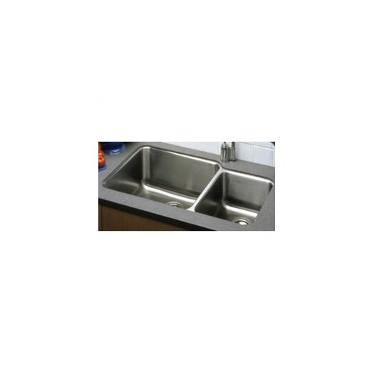 "Elkay Lustertone 35.25"" x 20.5"" Undermount Double Bowl 18 Gauge Kitchen Sink"