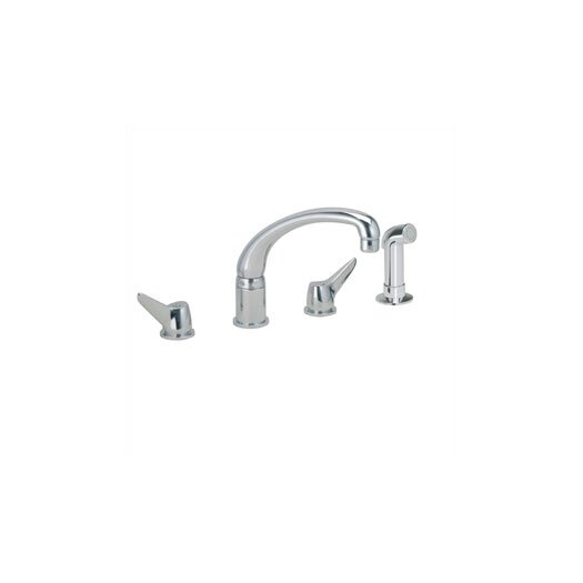 Elkay Double Handle Widespread Kitchen Faucet with Side Spray