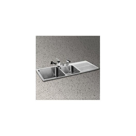 "Elkay Gourmet 48"" x 22"" 3-Hole Self Rimming Double Bowl Kitchen Sink"