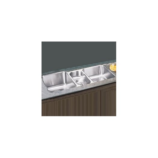"Elkay Lustertone 40"" x 20.5"" Undermount Triple Bowl Kitchen Sink"