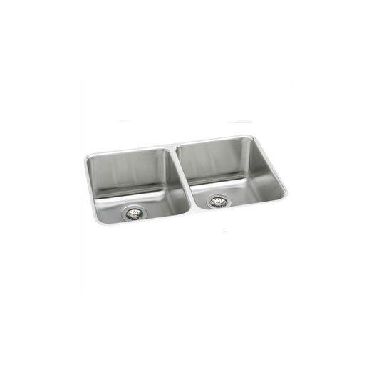"Elkay Lustertone 35.75"" x 18.5"" Deep Double Bowl Kitchen Sink"