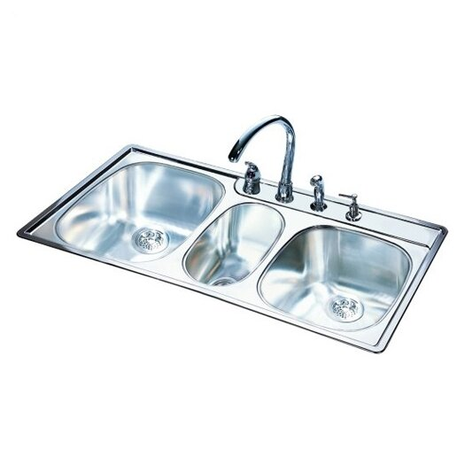 "FrankeUSA 43"" x 22""  20 Gauge Triple Bowl Kitchen Sink"