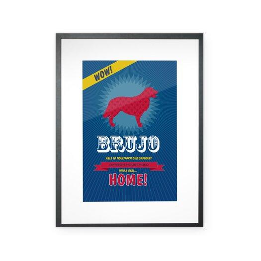 Checkerboard, Ltd Personalized Superhero Golden Retriever Framed Graphic Art