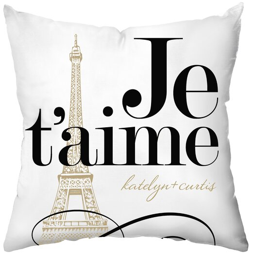 Checkerboard, Ltd Personalized Je'taime Throw Pillow