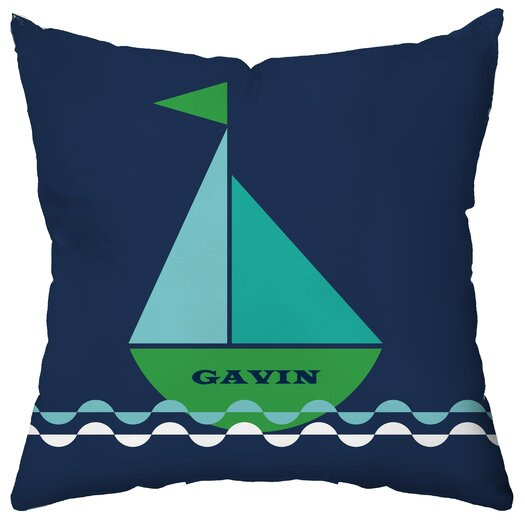Checkerboard, Ltd Personalized Smooth Sailing Throw Pillow