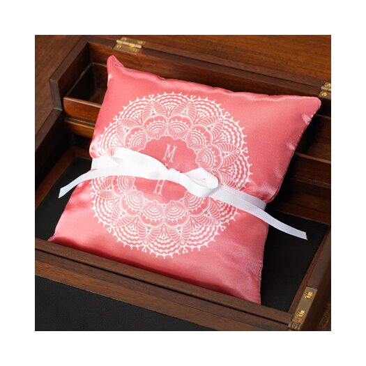 Checkerboard, Ltd Personalized Lace Ring Throw Pillow
