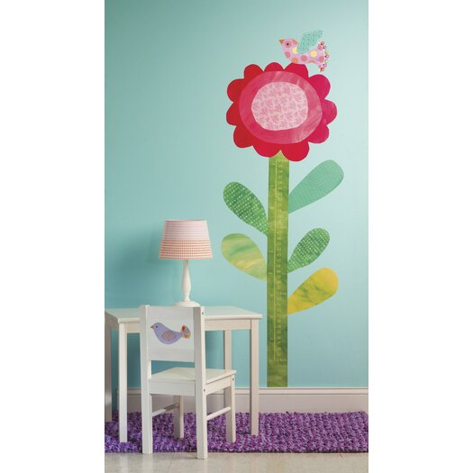 Wallies Peel and Stick Big Flower Growth Chart Wall Decal
