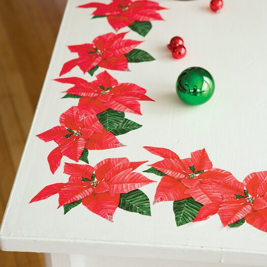 Wallies Poinsettias Holiday Wall Decal