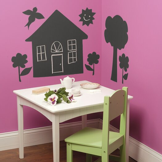 Wallies House and Trees Chalkboard Wall Decal