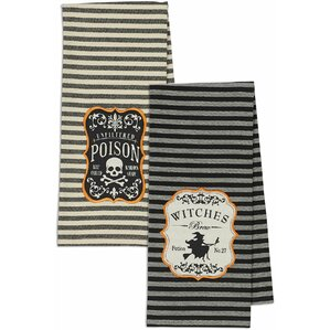 2 Piece Hocus Pocus Witches Brew & Poison Embroidered Dishtowel Set