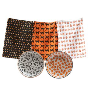 5-Piece Halloween Dishtowel & Plate Set