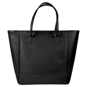 Personalized Charlotte Leather Tote in Black