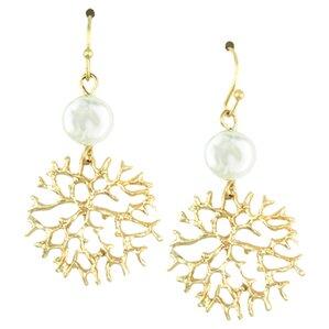 Golden Coral Earrings