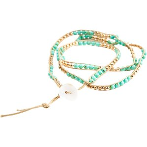 Hand-Beaded Wrap Bracelet in Teal