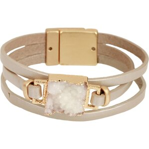 Denisa Leather Bracelet in Cream