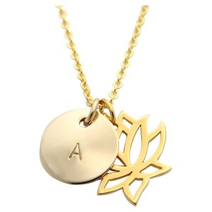 jenny present® Personalized Lotus Charm Necklace