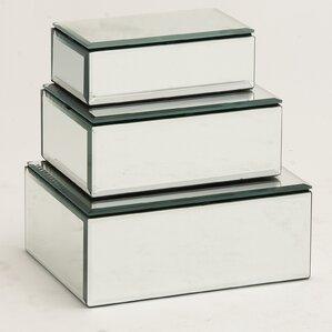 3-Piece Mirrored Jewelry Box Set