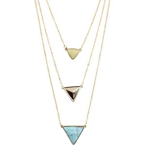 Triangle Trio Necklace Set with Natural Stone