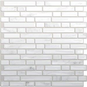 Adhesive Metallic Mosaic Tile in White & Gray