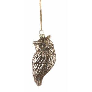 Gilt Owl Glass Ornament (Set of 4)