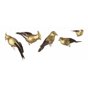 5-Piece Gilded Birds Ornament Set (Set of 2)