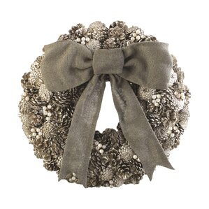 Faux Pinecone & Pearl Wreath
