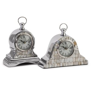 2-Piece Aurora Mother-of-Pearl Table Clock Set