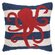 Peking Handicraft Nautical Hook Octopus Stripe Throw Pillow