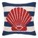 Peking Handicraft Nautical Hook Seashell Stripe Throw Pillow