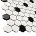 """EliteTile Retro 0.875"""" x 0.875"""" Hex Porcelain Mosaic Tile in Glossy White with Black Dots"""