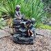 Kingfisher Boy and Girl Stone Rock Water Fountain