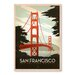 Americanflat Golden Gate Bridge by Anderson Design Group Vintage Advertisement Wrapped on Canvas