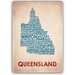 Americanflat Queensland Typography Wrapped on Canvas