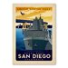 Americanflat San Diego Vintage Advertisement Wrapped on Canvas