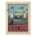 Americanflat Asa Collegestation Taxas Vintage Advertisement Wrapped on Canvas