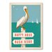 Americanflat Pelican Sign Post Vintage Advertisement Wrapped on Canvas