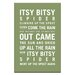 Artist Lane Itsy Bitsy Spider by Nursery Canvas Art in Green