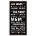 Artist Lane 'Las Vegas' by Tram Scrolls Typography Wrapped on Canvas