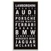Artist Lane 'Exotic Car'  by Tram Scrolls Framed Typography on Wrapped Canvas